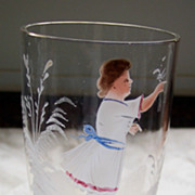 SOLD Mary Gregory English Made Lovely  Stemmed Glass