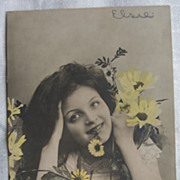 Real Tinted Photo of Woman with Daisies - Early 1900's