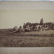 Large Wheat Harvesting Cabinet Card - Horse Drawn