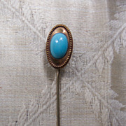 Faux Turquoise and Brass Stick Pin - Vintage