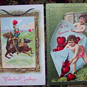 Cowboy Valentine Postcard with Cherub Bonus - Early 1900's