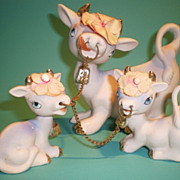 Mother Cow & Calves Bisque Figurines