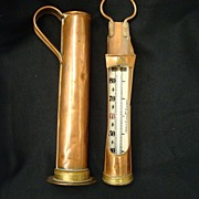 Joseph Long, Ltd. London Copper Brewers Measure and Thermometer