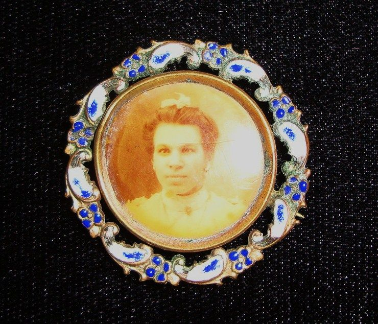 Vintage Enameled Portrait Brooch of Young Lady; circa 1900