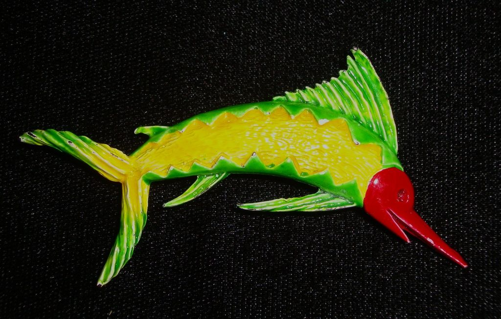 Vintage Enameled Sailfish Brooch / Pin