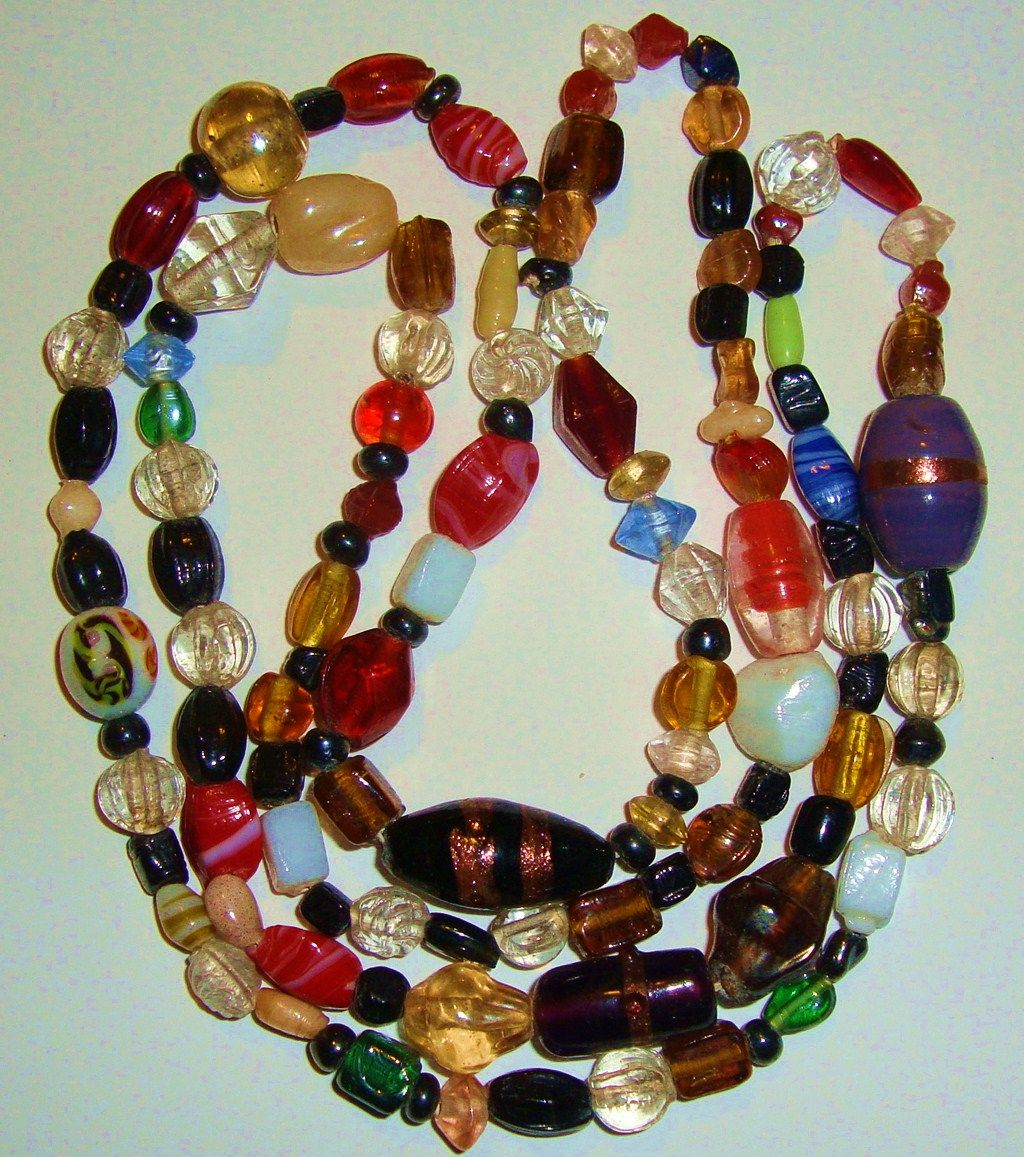 "Dynamic 38"" Bead Necklace; Venetian, Czech, Lampwork & More !"