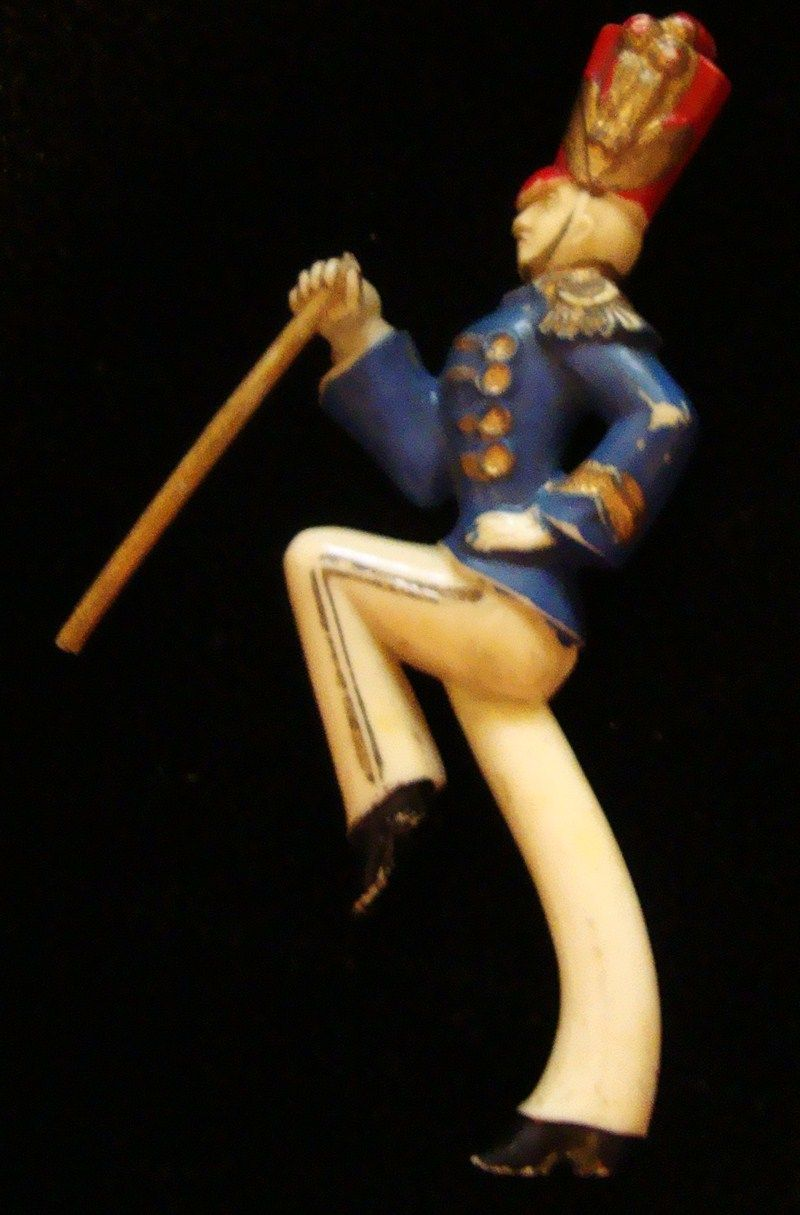 Articulated Vintage Drum Major Brooch / Pin; Colorful