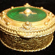 Gold Tone and Green Enamel with Faux Pearl Pillbox by Florenza