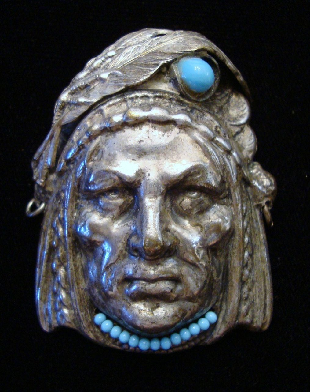 Fabulous American Indian Figural Brooch with Turquoise Colored Beads