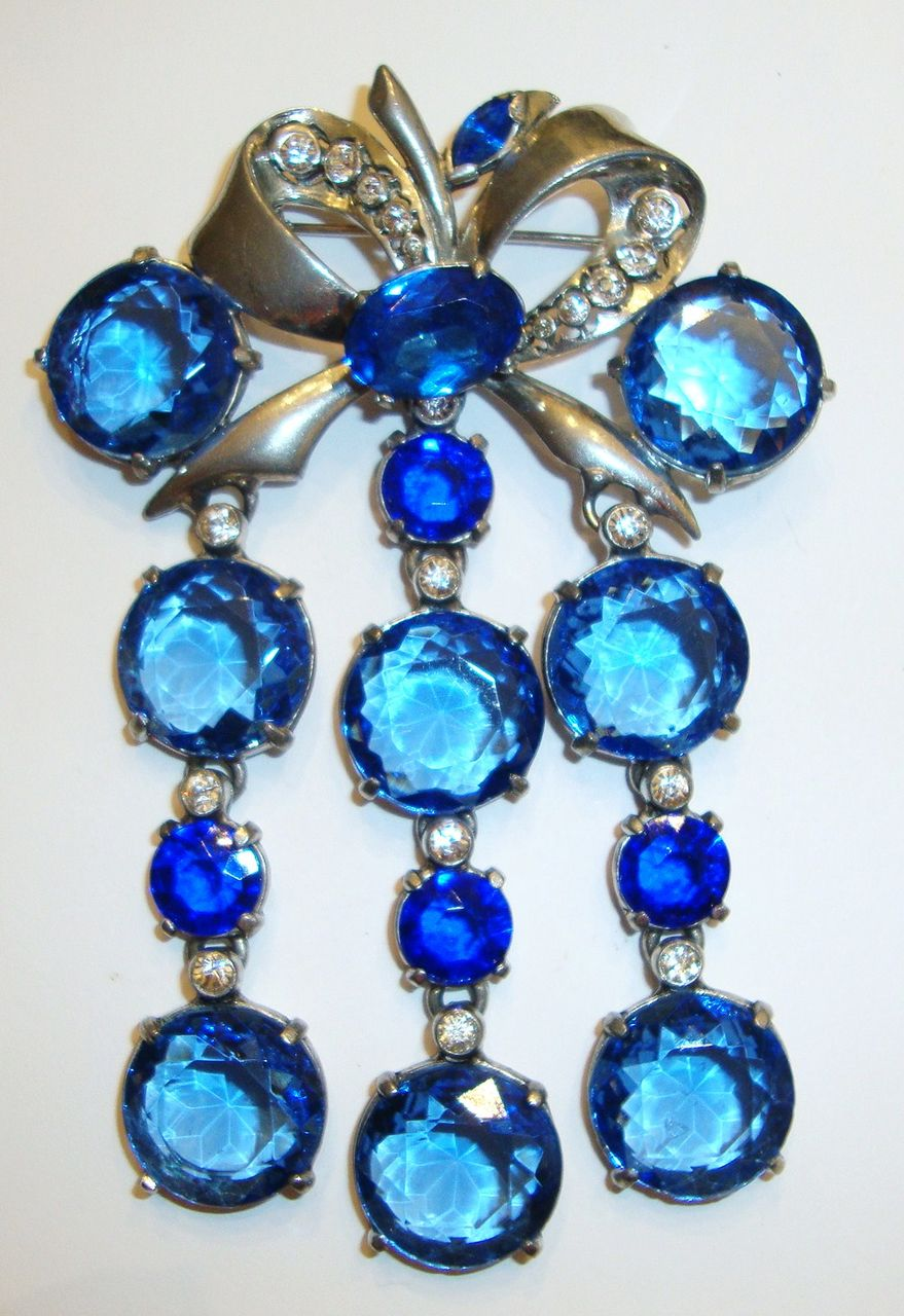Magnificent Runway Size Cobalt Crystal Brooch ~ Huge !