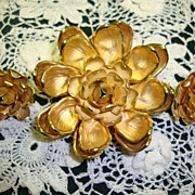 Vendome Brooch and Earrings ~ Gold Plated Flowers