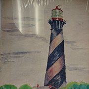 Original Florida Watercolor ~ Anastasia Lighthouse, St. Augustine ~ Simons, 1946