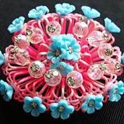 "Outrageous Vendome ""Birdcage"" & Floral Brooch in Pink & Blue"