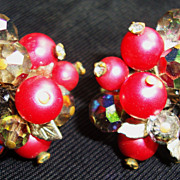 Yummy Burgundy & Crystal Earrings by Vendome