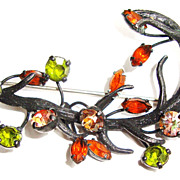 Large Japanned Brooch by Vendome; Amber and Green Stones