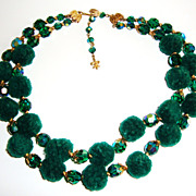 Over The Top !! Vendome Emerald Green Chenille Necklace