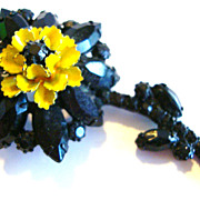 Alice Caviness Floral Brooch / Pin with Black Rhinestones