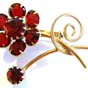 Small Floral Pin / Brooch with Ruby Red Stones