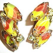 Fanciful  Earrings with Lampwork Stones in Yellow and Orange