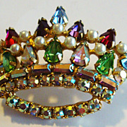 Crown Pin / Brooch with Multicolored Rhinestones & Faux Pearls