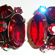 Gorgeous Ruby Red Rhinestone Earrings