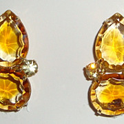 Chic Amber Rhinestone Clip Earrings with Pear Shaped Stones