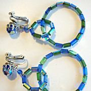 Fun Vendome Hoop Earrings in Green and Blue