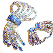 Dramatic Blue Rhinestone Swirl Pin / Brooch & Earrings