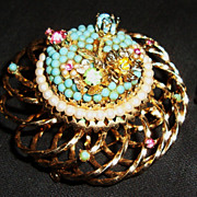 Delightful Vendome Brooch / Pin and Earrings with Spring Colors