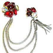 Double Pin with Ruby Red Cabochons and Tassel