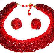 Dramatic Ruby Red Seed Bead Necklace and Earrings