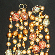 "Katie Bar the Door !! Super 50"" Necklace with Lampwork Beads"