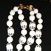 Fun Summery Long Vendome Necklace in White