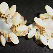 Lovely Vendome Earrings with Crystals, White Beads and Faux Pearls