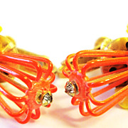 "Spunky Vendome ""Bird Cage"" Earrings in Orange & Yellow"
