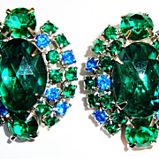 Stunning Emerald Green & Blue Earrings; Goldtone Clips