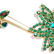 Fun Flower Pin / Brooch with Emerald Green Rhinestones