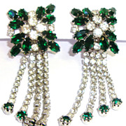 Dazzling Emerald Green Rhinestone Chandelier Earrings
