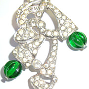 Early Free Flowing Dress Clip with Clear & Green Rhinestones