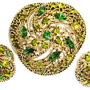 Pretty Pin / Brooch and Earring Set; Peridot Green & Kelly Green