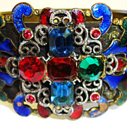 Superb Early Guilloche Enamel and Rhinestone Bracelet