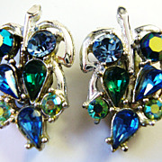 Pretty Silvertone Leaf Earrings with Blue & Green Rhinestones