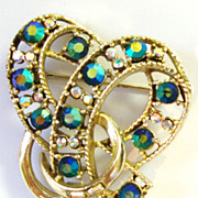 Coro Bow Pin with Iridescent Turquoise Colored Rhinestones