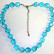 Dazzling Aqua Leaded Glass Crystal Necklace by Esnor