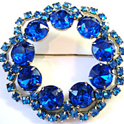 Knockout Midnight Blue Rhinestone Pin set in Silvertone