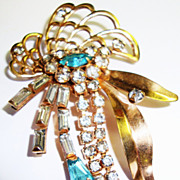 Vintage Phyllis Pin / Brooch with Turquoise Rhinestones 1/20-12KGF
