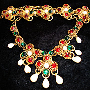 Drippy Runway Necklace and Bracelet in Ruby Red & Emerald Green