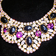 WOW !!!!!  Bib Necklace  in Lavender, Black & Steel Gray; Runway Piece
