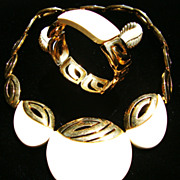 Kunio Matsumoto for Trifari Geometric Necklace & Bracelet; Monet Earrings