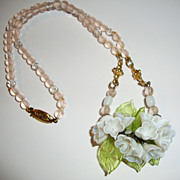 Lovely Molded Glass Necklace with Pale Pink Beads